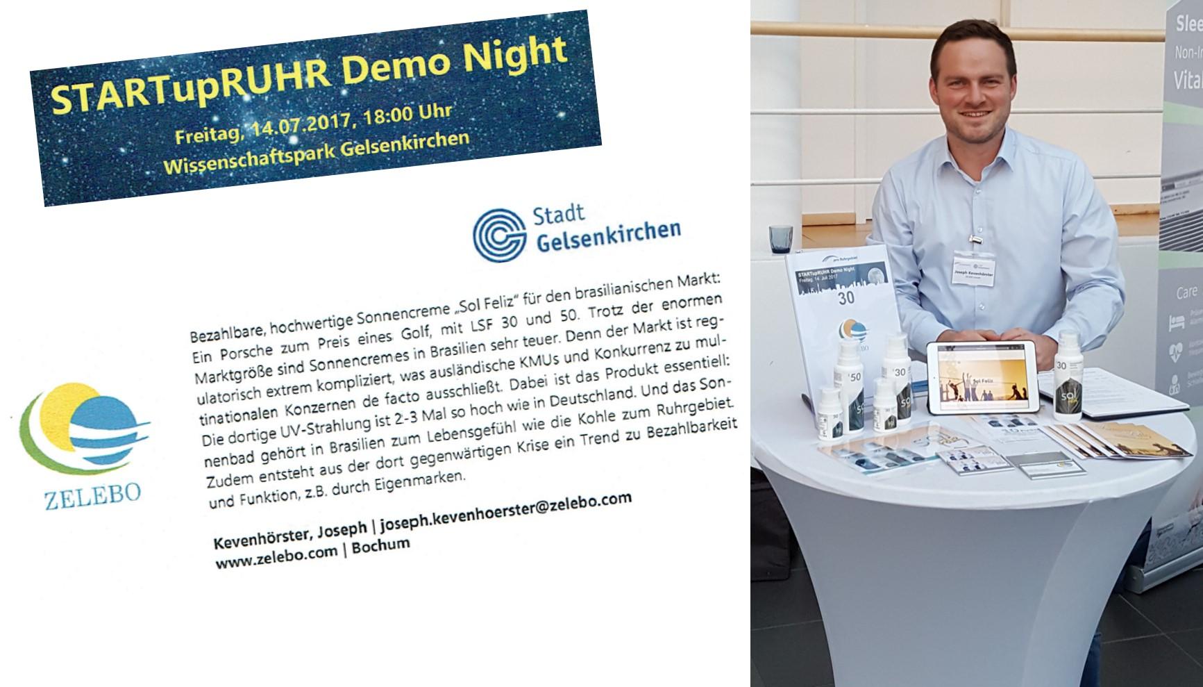 Sol Feliz Dermatologische Sonnencreme auf der StartUp Ruhr Demo night